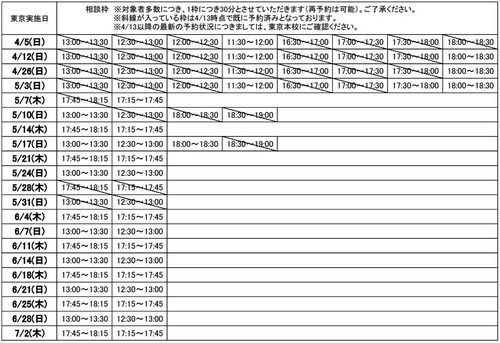 直前期の松本への個別相談(無料)
