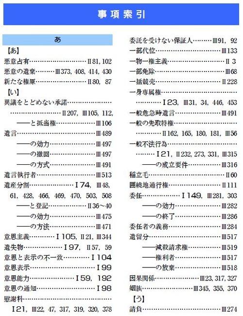 『司法書士試験 リアリスティック民法Ⅰ』事項索引(P262)